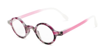 Angle of The Alta in Pink Tortoise, Women's and Men's Round Reading Glasses