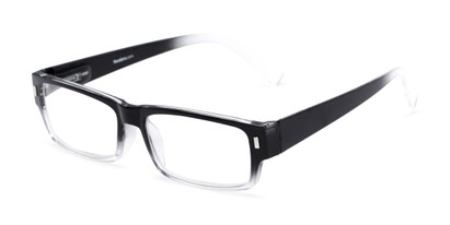 Angle of The Althorpe in Black/Clear Fade, Women's and Men's Rectangle Reading Glasses