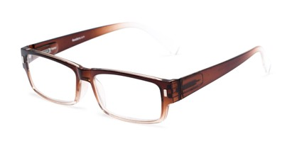 Angle of The Althorpe in Brown/Clear Fade, Women's and Men's Rectangle Reading Glasses