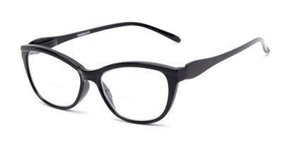 Angle of The Ambrosia Bifocal in Black, Women's Cat Eye Reading Glasses