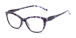 Angle of The Ambrosia Bifocal in Purple Tortoise, Women's Cat Eye Reading Glasses