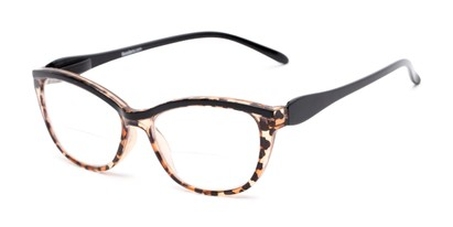 Angle of The Ambrosia Bifocal in Leopard and Black, Women's Cat Eye Reading Glasses