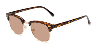 Detail of The Amos Photochromic Reader in Tortoise/Gold with Amber