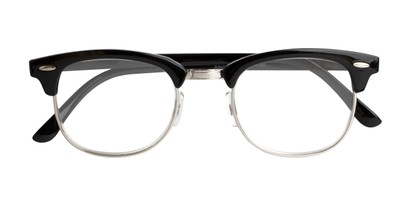 Folded of The Amos Photochromic Reader in Black/Silver with Smoke