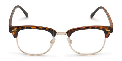 Front of The Amos Photochromic Reader in Tortoise/Gold with Amber