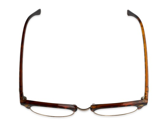 Overhead of The Amos Photochromic Reader in Tortoise/Gold with Amber
