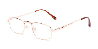 Angle of The Anderson in Gold, Women's and Men's Rectangle Reading Glasses