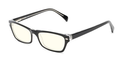 Angle of The Annette Blue Light Blocking Reader in Black/Crystal, Women's Cat Eye Computer Glasses