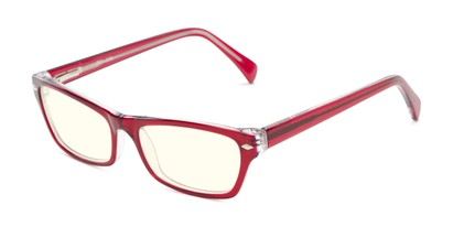Angle of The Annette Blue Light Blocking Reader in Scarlet Red/Crystal, Women's Cat Eye Computer Glasses