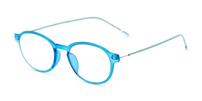 Angle of The Applause Flexible Reader in Blue/Aqua, Women's and Men's Round Reading Glasses