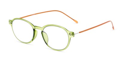 Angle of The Applause Flexible Reader in Green/Brown, Women's and Men's Round Reading Glasses
