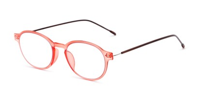 Angle of The Applause Flexible Reader in Orange/Brown, Women's and Men's Round Reading Glasses