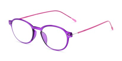 Angle of The Applause Flexible Reader in Purple/Pink, Women's and Men's Round Reading Glasses