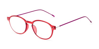 Angle of The Applause Flexible Reader in Red/Pink, Women's and Men's Round Reading Glasses