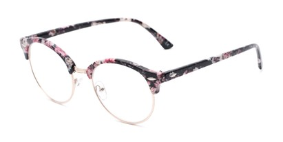 Angle of The Appleton in Pink Floral, Women's Browline Reading Glasses