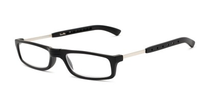 Angle of The Apricot Folding Reader in Black, Women's and Men's Rectangle Reading Glasses