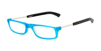 Angle of The Apricot Folding Reader in Blue, Women's and Men's Rectangle Reading Glasses