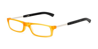 Angle of The Apricot Folding Reader in Orange, Women's and Men's Rectangle Reading Glasses