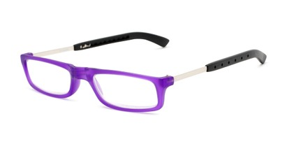 Angle of The Apricot Folding Reader in Purple, Women's and Men's Rectangle Reading Glasses