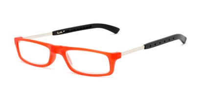 Angle of The Apricot Folding Reader in Red, Women's and Men's Rectangle Reading Glasses