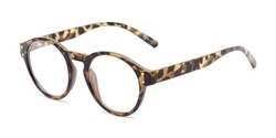 Angle of The Archie in Tan Tortoise, Women's and Men's Round Reading Glasses