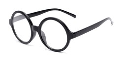 Angle of The Architect in Black, Women's and Men's Round Reading Glasses