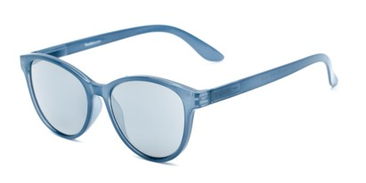 Angle of The Aria Reading Sunglasses in Blue with Silver Mirror, Women's Cat Eye Reading Sunglasses