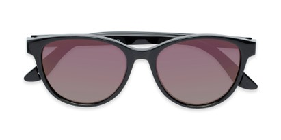 Folded of The Aria Reading Sunglasses in Black with Purple Mirror