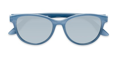Folded of The Aria Reading Sunglasses in Blue with Silver Mirror