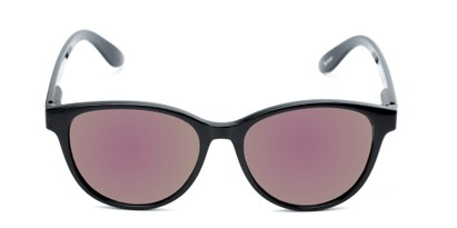 Front of The Aria Reading Sunglasses in Black with Purple Mirror