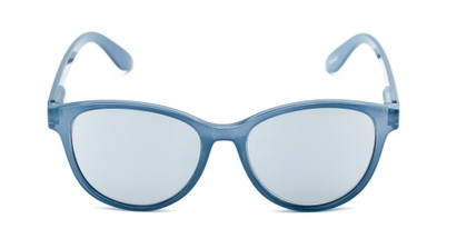 Front of The Aria Reading Sunglasses in Blue with Silver Mirror