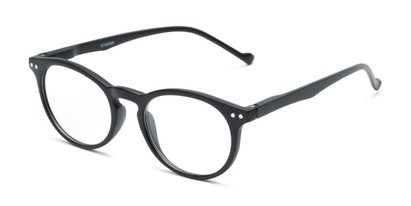 Angle of The Arlo in Black, Women's and Men's Round Reading Glasses