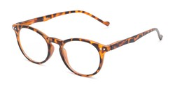 Angle of The Arlo in Brown Tortoise, Women's and Men's Round Reading Glasses