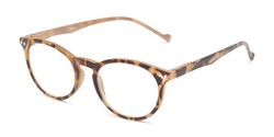 Angle of The Arlo in Tan Tortoise, Women's and Men's Round Reading Glasses