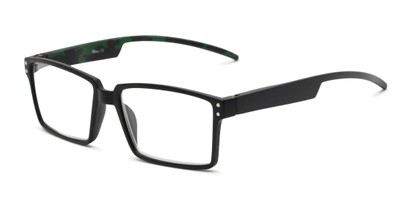 Angle of The Armand in Black, Men's Rectangle Reading Glasses