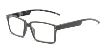 Angle of The Armand in Grey, Men's Rectangle Reading Glasses