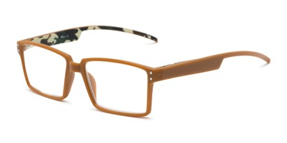 Angle of The Armand in Tan, Men's Rectangle Reading Glasses