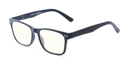 Angle of The Arnold Multifocal Computer Reader in Black with Light Yellow, Women's and Men's Retro Square Reading Glasses