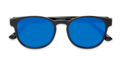 Folded of The Arrow Magnetic Reading Sunglasses in Black with Blue Mirror