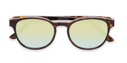 Folded of The Arrow Magnetic Reading Sunglasses in Tortoise with Green Mirror