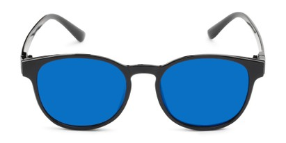 Front of The Arrow Magnetic Reading Sunglasses in Black with Blue Mirror