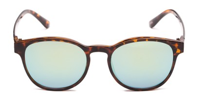 Front of The Arrow Magnetic Reading Sunglasses in Tortoise with Green Mirror