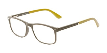 Angle of The Arvil in Grey/Olive Green, Women's and Men's Rectangle Reading Glasses