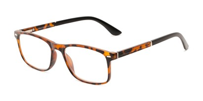 Angle of The Arvil in Tortoise/Black, Women's and Men's Rectangle Reading Glasses