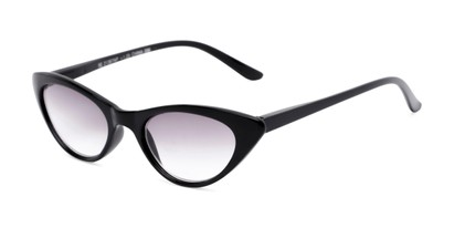 Angle of The Ashlee Reading Sunglasses in Black with Smoke, Women's Cat Eye Reading Sunglasses