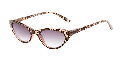 Angle of The Ashlee Reading Sunglasses in Brown Leopard with Smoke, Women's Cat Eye Reading Sunglasses