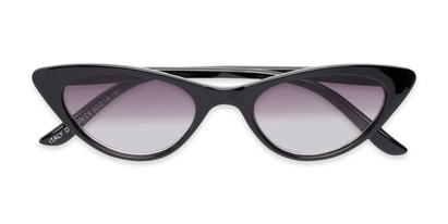 Folded of The Ashlee Reading Sunglasses in Black with Smoke