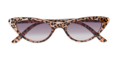 Folded of The Ashlee Reading Sunglasses in Brown Leopard with Smoke