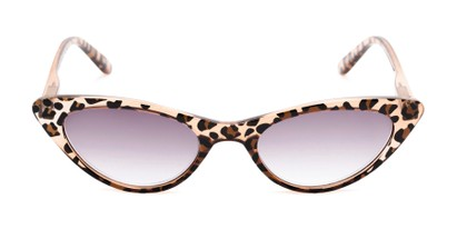 Front of The Ashlee Reading Sunglasses in Brown Leopard with Smoke
