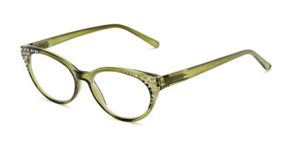 Angle of The Astrid in Green, Women's Cat Eye Reading Glasses